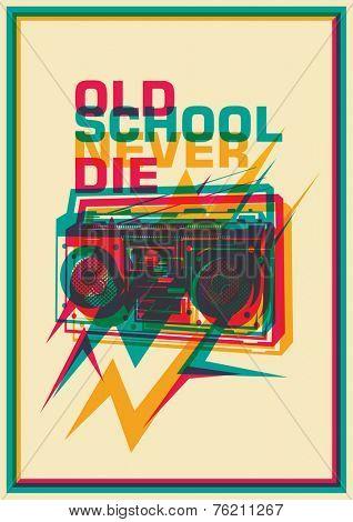 Retro poster with ghetto blaster. Vector illustration.
