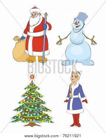 Картинки, рисунки Дед Мороз и Снегурочка