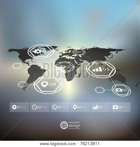 Black World map in perspective, blurred infographic vector template for business design poster