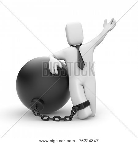 Businessman bound in chains
