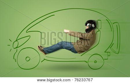 Man drives an eco friendy electric hand drawn car concept