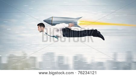 Superhero business man flying with jet pack rocket above the city concept poster