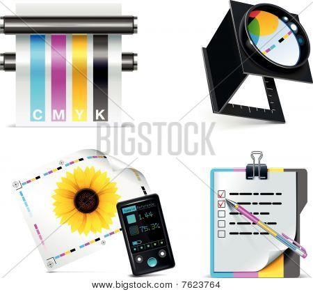 Vector Druckerei Icon Set.