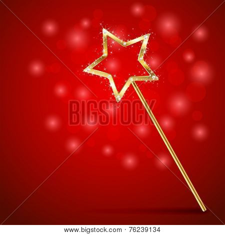 Golden magic wand on red background illustration. poster