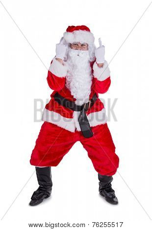 Santa Claus with upraise middle fingers, concept of Christmas hatred.