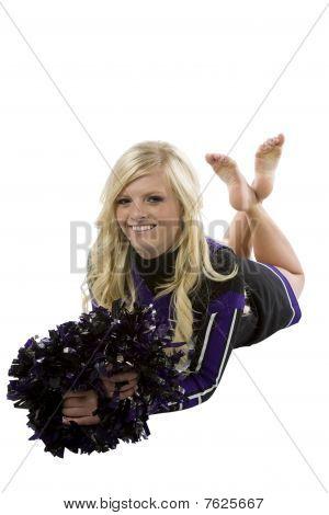 Cheerleader Laying Legs Crossed