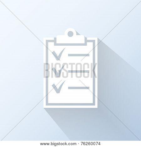 Flat Clipboard Icon. Vector Illustration
