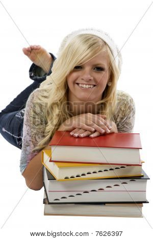 Girl Behind A Stack Of Books