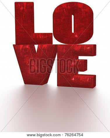 Glossy three-dimensional inscription LOVE as a sign. poster