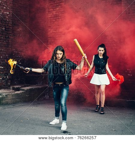 Two Bad Fan Girls With Molotov Cocktail And Red Smoke Bomb