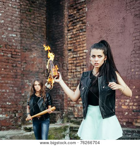 Two Bad Girls Hooligans With Molotov Cocktail Bomb In The Street