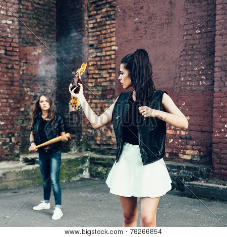 Two Bad Girls With Molotov Cocktail Bomb In The Street