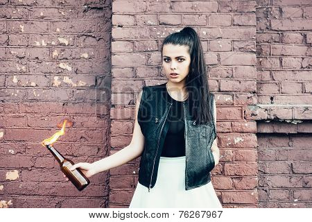 Bad Girl With Molotov Cocktail Bomb In Her Hand