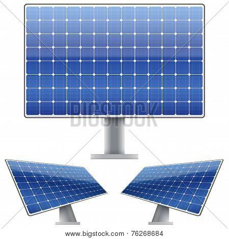 Set of Blue electric solar panel for sun light. Vector
