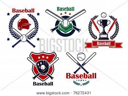 Colored Baseball emblems and badges