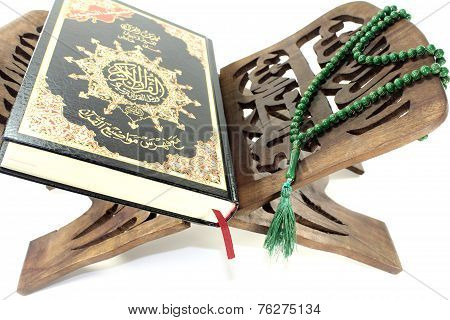 Stand With Quran And Green Rosary