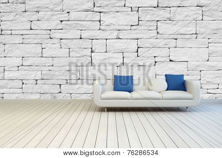 3D Rendering of White Couch with White and Blue Pillows on an Architectural Room with Seamless White Stone Pattern Wall and Wooden Floor Design.