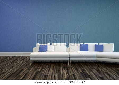 3D Rendering of White and Blue Pillows on White Couch at Elegant Lounge Area with Plain Blue Violet Wall and Wooden Flooring Design.