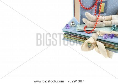 Gift background isolated with copyspace. Handmade gifts.