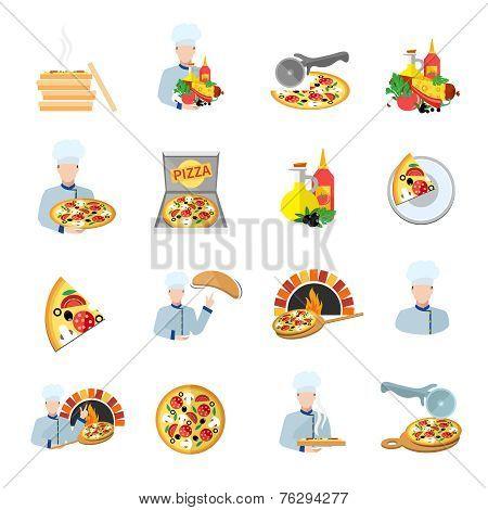 Pizza maker icon set