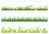 Illustration of three web banners in spring and summer themes: foliage, grass, flowers and butterflies poster