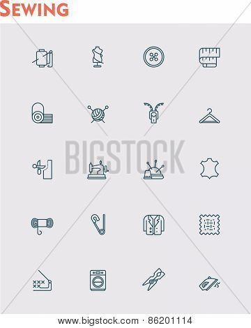 Set of the sewing and needlework related icons