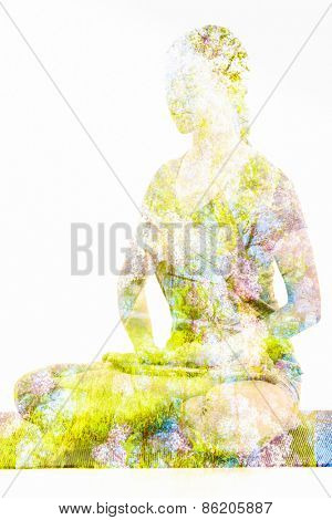 Nature harmony healthy lifestyle concept - double exposure image of  woman doing yoga Lotus Position (padmasana with bhairava mudra) pose exercise cross-legged sitting asana for meditation isolated