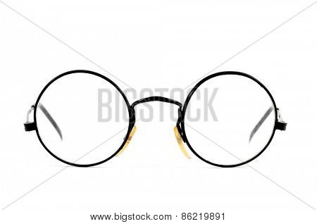 a pair of round-lens eyeglasses on a white background