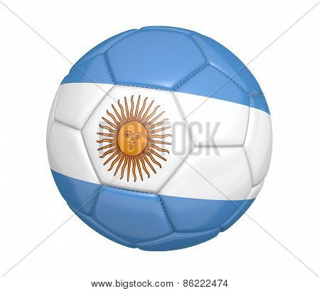 Soccer ball, or football, with the country flag of Argentina