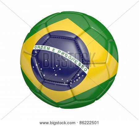 Soccer ball, or football, with the country flag of Brazil