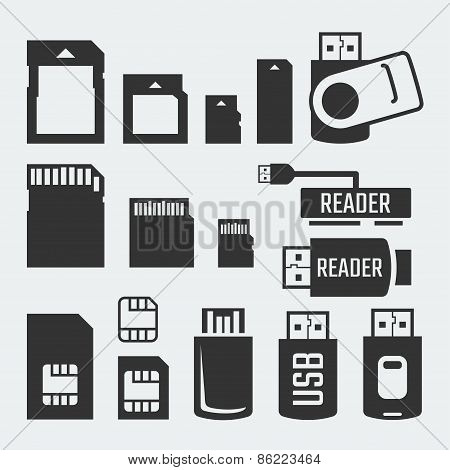 Memory Cards, Sticks, Readers And Sim Cards Vector Silhouettes