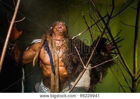 Vicious werewolf with a skin on his shoulder and long nails among tree branches. poster