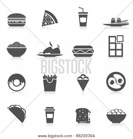 Fast Food Icons Black
