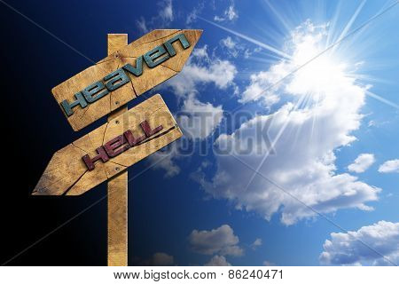 Heaven And Hell - Sign On Blue Sky