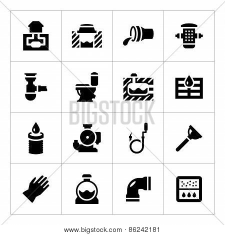 Set Icons Of Sewerage