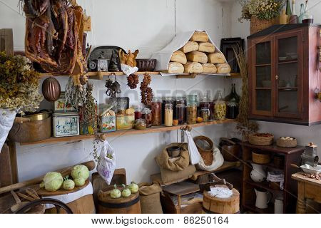 Larder in an old house in the country