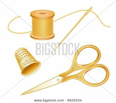 Antique Gold Scissosrs Set