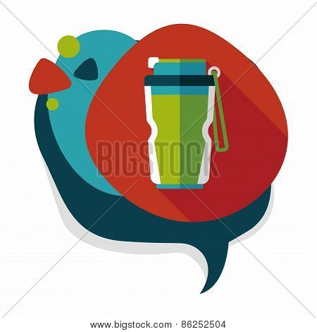Water Bottle Flat Icon With Long Shadow,eps10