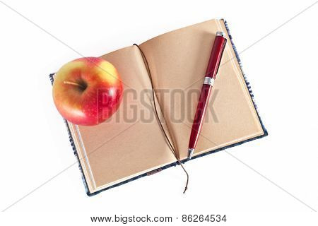 Diary With Pen And Apple