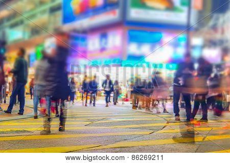 Blurred Image Of Night City Street. Hong Kong.