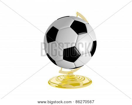 Soccer Ball On Globe Stand