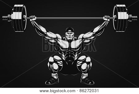 Illustration a ferocious bodybuilder with a barbell poster