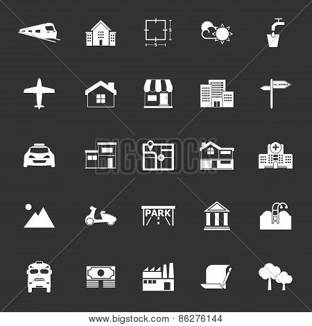 Real Estate Icons On Gray Background