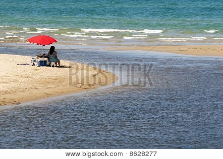 Woman Looking To The Sea