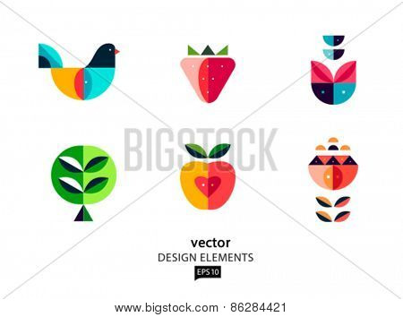 Vector abstract design elements. Bird and flower. AI EPS 10.