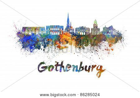 Gothenburg Skyline In Watercolor
