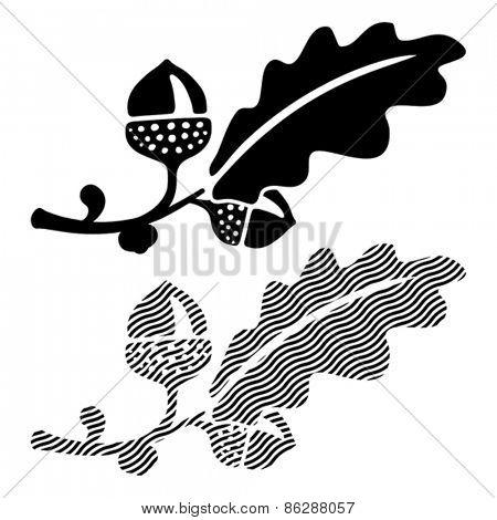 Oak leaf with acorns. Vector format EPS 8, CMYK.