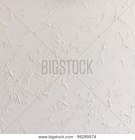 White Abstract Structured Background Wall With Rough Stucco Pattern