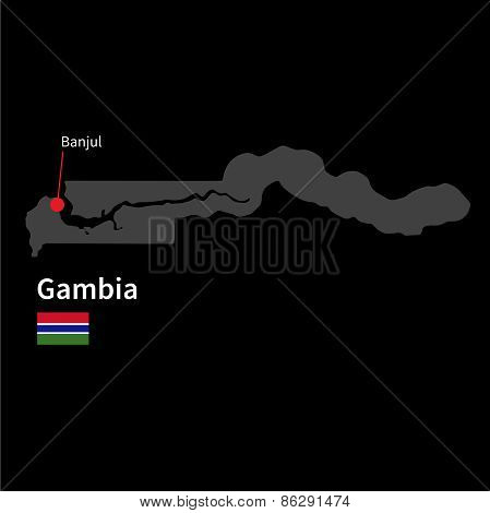 Detailed map of Gambia and capital city Banjul with flag on black background