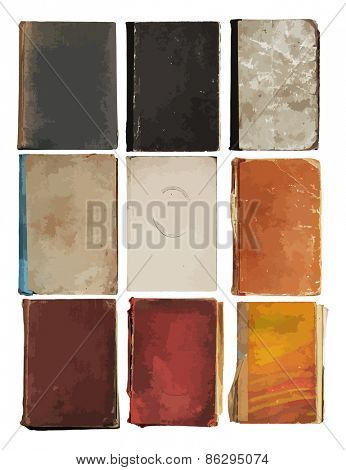 set of old books, vector